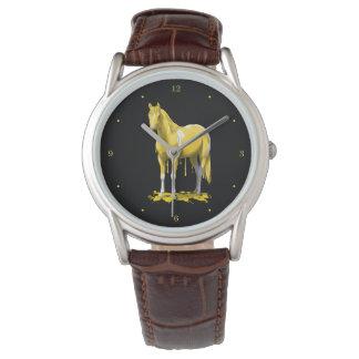 Lemon Yellow Dripping Wet Paint Horse Wrist Watch