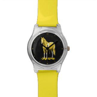 Lemon Yellow Dripping Wet Paint Horse Wristwatch