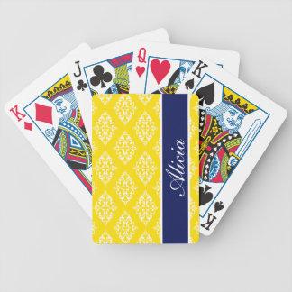 Lemon Yellow Empress Print Bicycle Playing Cards
