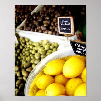 Lemon Yellow France Market Kitchen Art Poster
