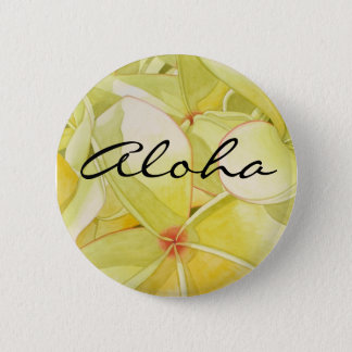 Lemon Yellow Frangipani  Aloha 6 Cm Round Badge
