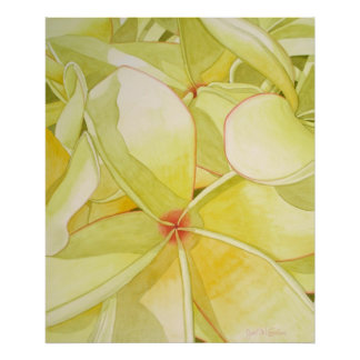Lemon Yellow Frangipani Poster
