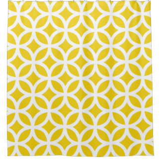 Lemon Yellow Geometric Pattern Shower Curtains