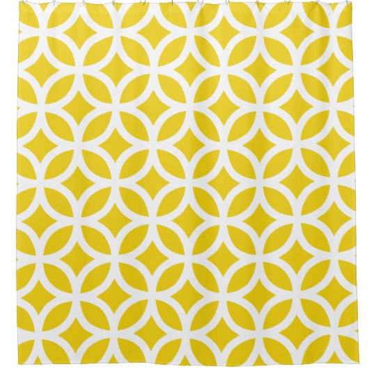 Lemon Yellow Geometric Pattern Shower Curtains