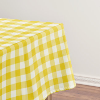 Lemon Yellow Gingham Cotton Tablecloth