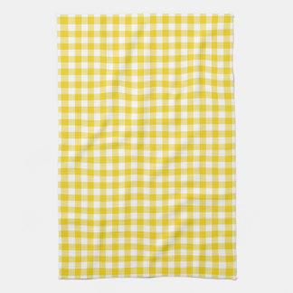 Lemon Yellow Gingham Pattern Kitchen Towels
