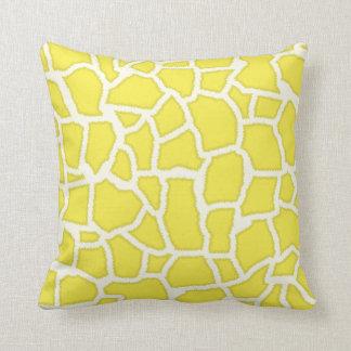 Lemon Yellow Giraffe Animal Print Cushion