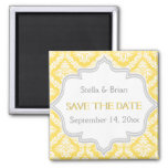 Lemon yellow, grey damask wedding Save the Date Refrigerator Magnets