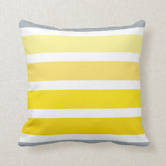 Lemon Yellow Grey White Stripes Pattern Cushion