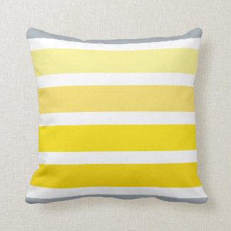 Lemon Yellow Grey White Stripes Pattern Throw Pillow