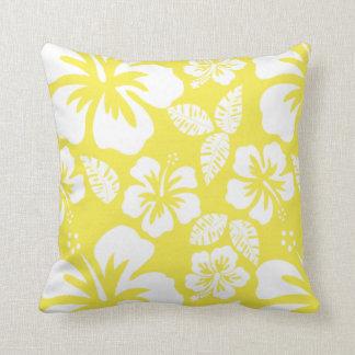 Lemon Yellow Hawaiian Tropical Hibiscus Throw Pillow