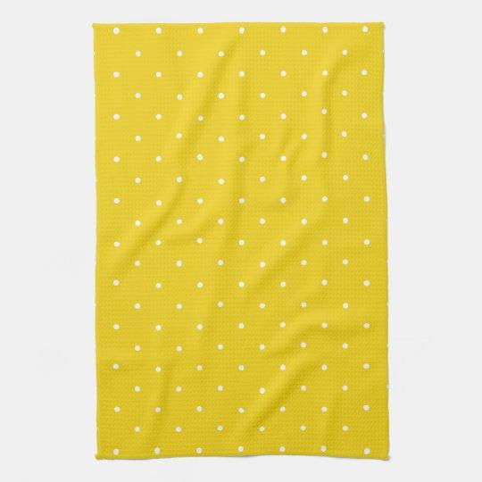 Lemon Yellow Polka Dot Kitchen Towels