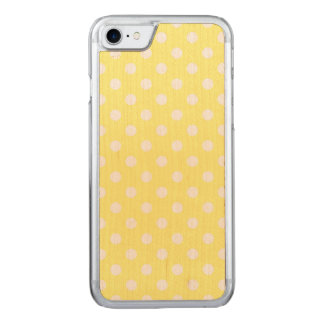 Lemon Yellow Polka Dot Pattern Carved iPhone 8/7 Case