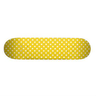Lemon Yellow Polka Dot Pattern Skate Board