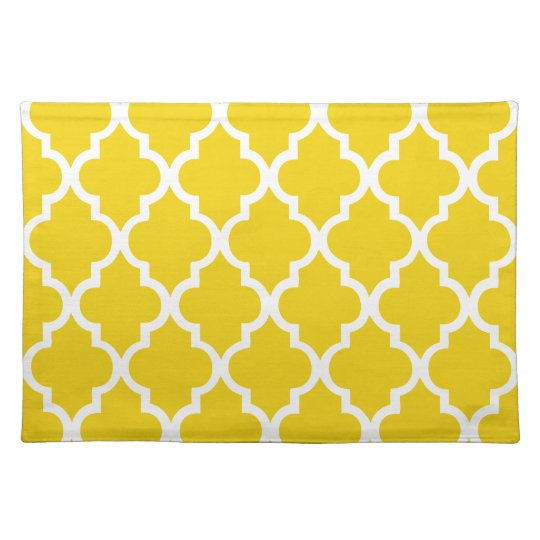 Lemon Yellow Quatrefoil Tiles Pattern Placemats
