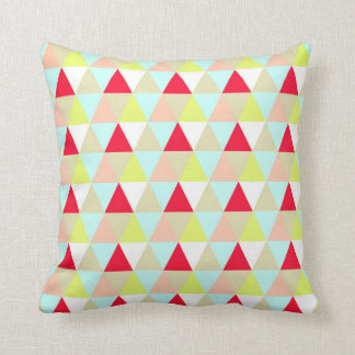 Lemon Yellow Red Pink Bright Triangles Pattern Throw Pillow