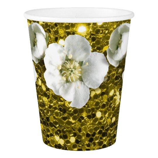 Lemon Yellow Sequin Tropical Glitter Flower Jasmin Paper