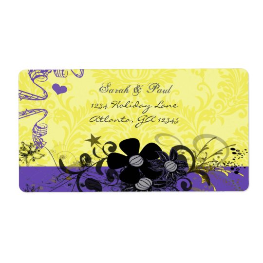 Lemon Yellow & Violet Flower Swirl Return Address Shipping Label