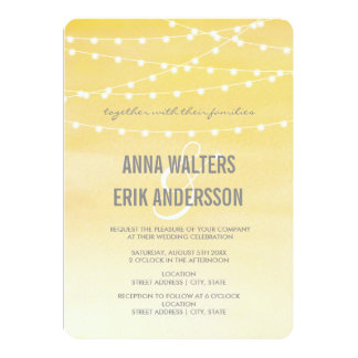 Lemon Yellow Watercolor String Lights Card