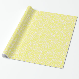 Lemon Yellow White Damask Pattern Wrapping Paper