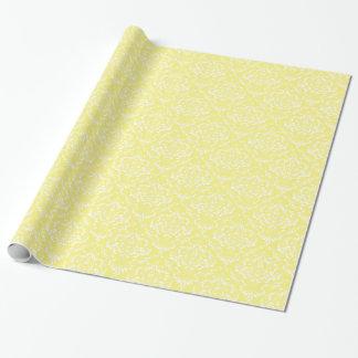 Lemon Yellow White Damask Pattern Wrapping Paper