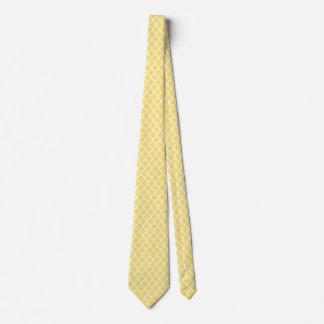 Lemon Yellow White Quatrefoil Pattern Ties For Men