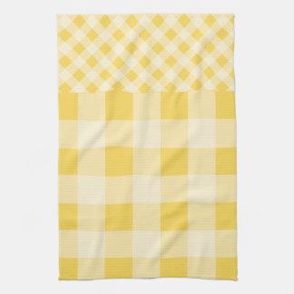 Lemon Zest Gingham pattern Tea Towel