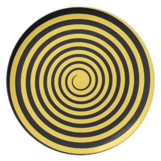 Lemon Zest Yellow & Black Spiral Customized Blank Party Plates