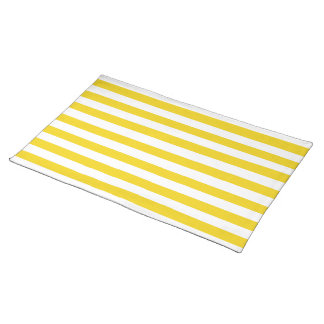 Lemon Zest Yellow Stripes Pattern Placemat