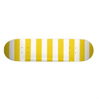 Lemon Zest Yellow Stripes Pattern Skate Deck