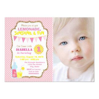 Lemonade 1st Birthday Party Card