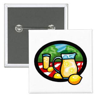 Lemonade Picnic Pitcher Lemons Gingham Check 15 Cm Square Badge