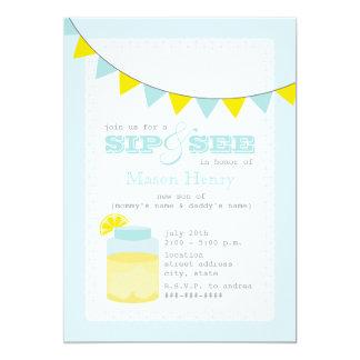 Lemonade Sip And See Baby Boy Card