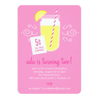 Lemonade Stand Birthday Party Invitation