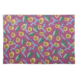 Lemons and blue ribbons pattern placemat