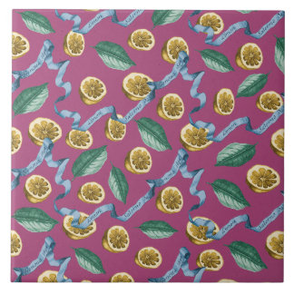 Lemons and blue ribbons pattern tile