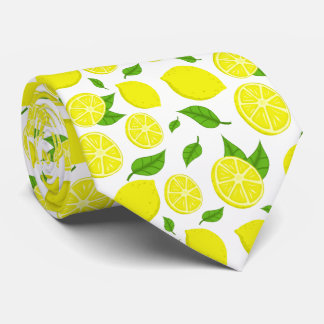 Lemons and Green Leaves On Custom Background Tie