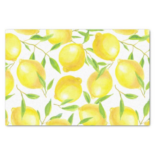 Lemons and leaves pattern design tissue paper