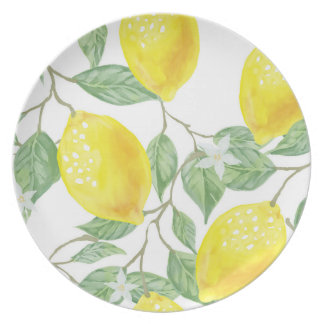 Lemons and Leaves Print Plate in Yellow and Green