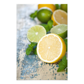 Lemons And Limes With Fresh Mint Photographic Print