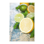 Lemons And Limes With Fresh Mint Stretched Canvas Prints