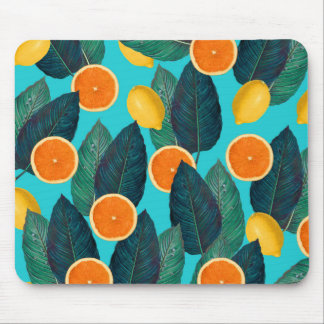 lemons and oranges teal mouse mat