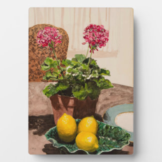 Lemons and Pink Geraniums Stil Life Watercolor Plaque