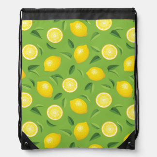 Lemons Background Pattern Drawstring Bag