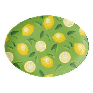 Lemons Background Pattern Porcelain Serving Platter
