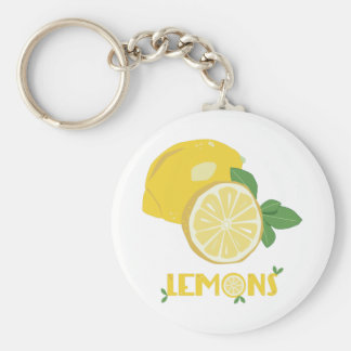 Lemons Basic Round Button Key Ring