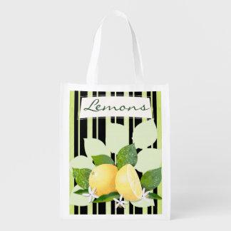 Lemons Citrus Fruits Botanical Stripes Garden Reusable Grocery Bag