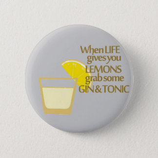 lemons gin and tonic 6 cm round badge