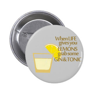 lemons gin and tonic 6 cm round badge
