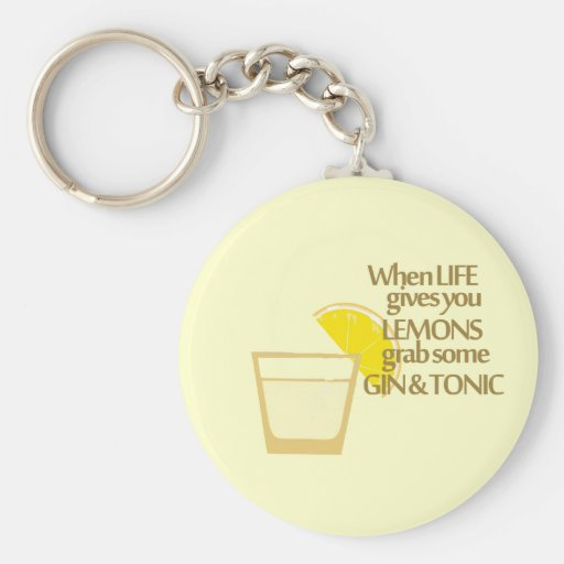lemons gin and tonic key chain
